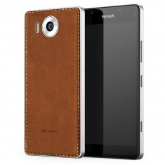 Capac spate de piele Mozo Qi Wireless Charging & NFC pentru Microsoft Lumia 950, Cognac/Silver