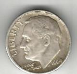 SUA  1 DIME 1964  ARGINT STARE FOARTE BUNA CU PATINA, America de Nord