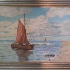 Tablou vechi ,german,ulei pictat pe panza,peisaj marin,semnat, W.Gerhards