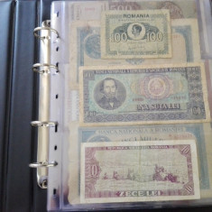 Album cu 34 bancnote vechi diferite, romanesti si straine
