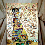 Pictura tehnica mixta ornamente pictate reliefate Tablou Abstract Gustav Klimt 7 - Pictor roman, Ulei