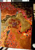 Pictura tehnica mixta ornamente pictate reliefate Tablou Abstract Gustav Klimt 6, Ulei