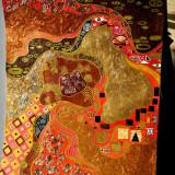 Pictura tehnica mixta ornamente pictate reliefate Tablou Abstract Gustav Klimt 6 - Pictor roman, Ulei