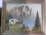 Tablou vechi,german,peisaj montan,cu cabana,ulei pictat pe panza,semnat,W.Gerha, Peisaje, Realism