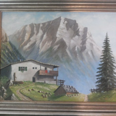 Tablou vechi,german,peisaj montan,cu cabana,ulei pictat pe panza,semnat,W.Gerha