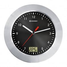 Ceas de perete cu termometru Bresser, cadran negru