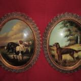 PERECHE Tablouri ovale reprezentand o pictura cu catei 50x40 cm, Portrete, Ulei, Altul