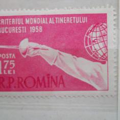 1958 LP 453 CRITERIUL MONDIAL AL TINERETULUI LA SCRIMA - Timbre Romania, Nestampilat