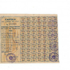 Cartela lemne 1949, stampila Facultatea de Drept, Universitatea Cuza Voda