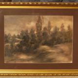 Constantin Iliescu Peisaj Pastel tablou inramat pictor Ramnicu Valcea - Pictor roman, Peisaje, Realism