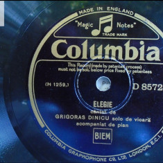 Grigoras Dinicu solo de vioara disc patefon gramofon Columbia v foto! - Muzica Lautareasca Columbia, Alte tipuri suport muzica