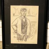 Val Gheorghiu Muncitori pe santier in Braila grafica schita in creion - Pictor roman, Portrete, Carbune, Realism