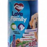 Love with Family - Dog - conserva cu somon si curcan - 1240 gr - Carte in engleza