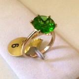 Inel finut -placat cu aur 18k cu cristal SWAROVSKI verde- marimea 6, 16mm