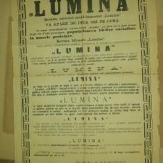 Afis reclama ziarul lumina 1896 - Reclama Tiparita