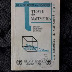 Teste De Matematica Pentru Admiterea In Liceu - Schneider - Teste admitere liceu