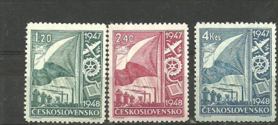 Cehoslovacia 1948 - PA RECONSTRUCTIA TARII, serie MNH, VL20 foto