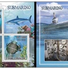 Sao Tome, 2009, fauna marina, submarine, serie ( in bloc) si colita, MNH** - Timbre straine, Nestampilat