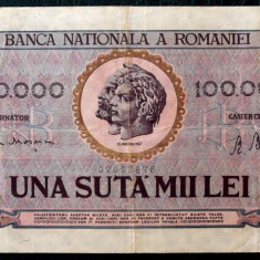 ROMANIA 100000 100.000 LEI 25 IANUARIE 1947 ** - Bancnota romaneasca