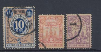 Danemarca secolul XIX 3 timbre de curier postal local stampilate foto