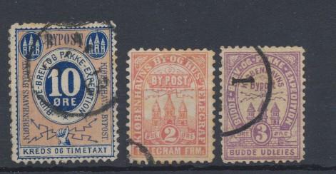 Danemarca secolul XIX 3 timbre de curier postal local stampilate