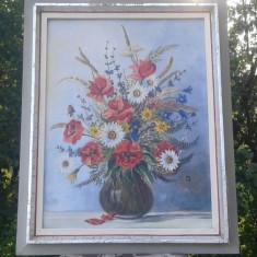 Tablou Deosebit Vaza Cu Flori Semnat Si Datat, dimensiuni mari - Pictor strain, An: 1965, Natura statica, Acrilic, Realism
