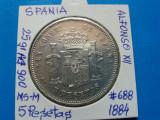 SPANIA 5 PESETAS 1884 ARGINT
