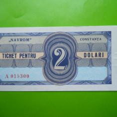 HOPCT TICHET PENTRU NAVROM CONSTANTA 2 DOLARI - UNC - RARA - Bancnota romaneasca