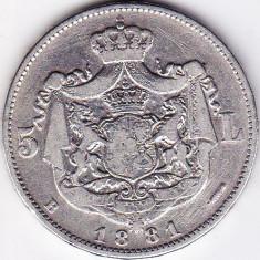 Carol I. Rege 5 lei 1881 argint 25 gr 900/1000 pe cant 5 stele cu 5 raze - Moneda Romania