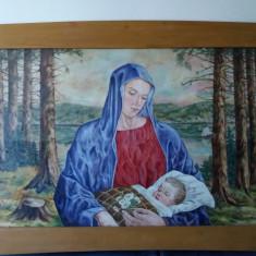 Tablou vechi Maria si Isus autor neidentificat 140cmx94cm