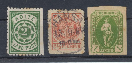 Germania secolul XIX 3 timbre de curier postal local din Holte Bochum si Hansa