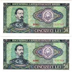 Lot 2 bancnote 50 lei 1966 XF/UNC SERII CONTINUE - Bancnota romaneasca