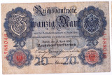 Germania bancnota 20 MARK MARCI 1910 VF+