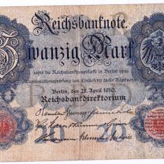 Germania bancnota 20 MARK MARCI 1910 VF+ - bancnota europa, An: 1914