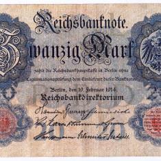Germania bancnota 20 MARK MARCI 1914 XF