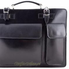 Geanta barbat piele naturala neagra - import Italia - geanta neagra servieta - Geanta Barbati, Marime: Masura unica, Culoare: Negru, Negru