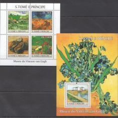 Sao Tome, 2004, pictura, Van Gogh, serie ( in bloc) si colita, MNH** - Timbre straine, Nestampilat