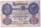 Germania bancnota RARA 20 MARK MARCI 1908