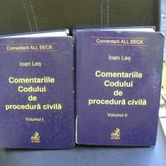 IOAN LES COMENTARIILE CODULUI DE PROCEDURA CIVILA VOL I SI II {ED ALL BECK 2001 646+613 PAG, COPERTI CARTONATE, STARE BUNA} - Carte Drept procesual civil