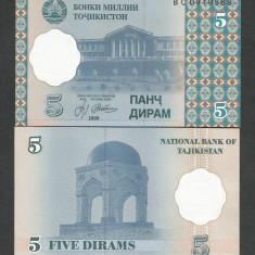 TADJIKISTAN 5 DIRAMS 1999 UNC [1] P-11a, necirculata - bancnota asia