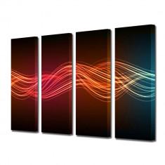 Tablou Multicanvas 4 Piese Unde luminoase - Tablou canvas
