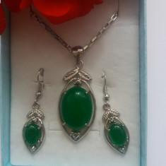 Set bijuterii din argint 925 inimioare cu pietricele - Set bijuterii argint