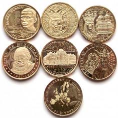 Set lot complet 7 Monede comemorative 50 Bani 2010 - 2017 UNC din fisic ** - Moneda Romania, Alama