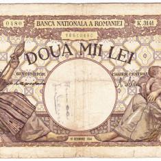 Bancnota 2000 lei 10 octombrie 1944 filigran Traian - Bancnota romaneasca