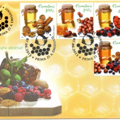 ROMANIA 2013, FDC, Traieste sanatos, Fructe, Miere, din album filatelic nr. 377, Romania de la 1950, An: 2012, Fauna