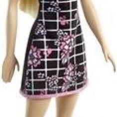 Papusa Barbie Fashion Doll Black Dress With Pink Flowers Mattel
