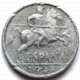 WW2 , SPANIA , 10 CENTIMOS 1941 , DIAMETRU 23mm., Europa, Aluminiu
