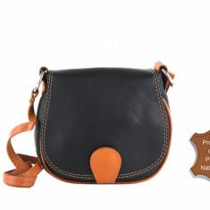 Geanta neagra piele naturala Sibilla - import Italia - geanta dama coniac postas, Culoare: Din imagine, Marime: Masura unica, Geanta stil postas