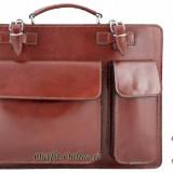 Geanta barbat piele maro office - import Italia - geanta maro servieta arhitect