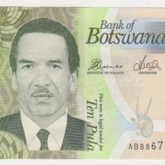 BOTSWANA 10 pula 2010 UNC originala - bancnota africa